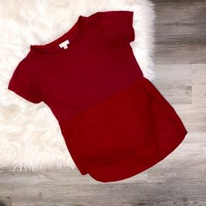 Charming Charlie's Deep Red Sheer Block Tee M